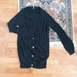 Free People black cardigan with cuff detail